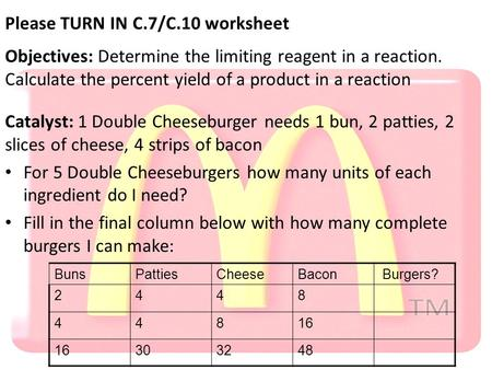 Please TURN IN C.7/C.10 worksheet Objectives: Determine the limiting reagent in a reaction. Calculate the percent yield of a product in a reaction Catalyst: