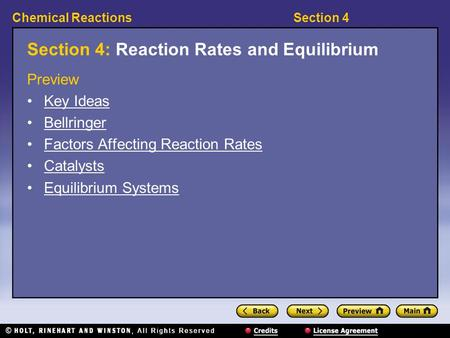 Section 4: Reaction Rates and Equilibrium