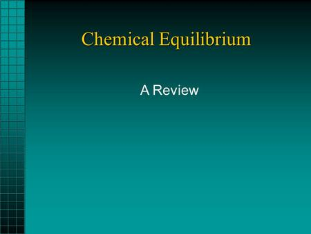 Chemical Equilibrium A Review. Questions about reactions 1.What's happening? The chemical equation ? 2.How fast is it happening? 3.To what extent does.