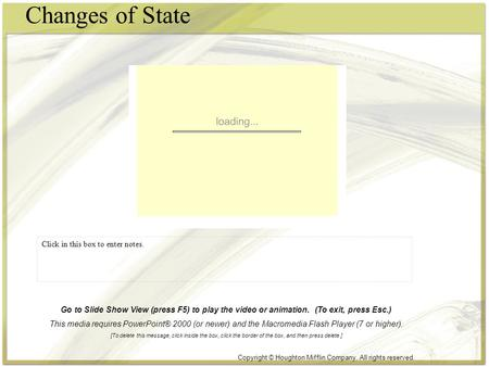 Changes of State Click in this box to enter notes. Copyright © Houghton Mifflin Company. All rights reserved. Go to Slide Show View (press F5) to play.