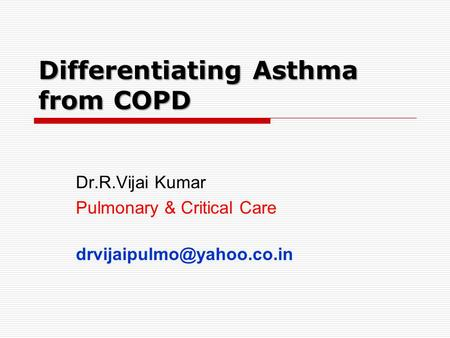Differentiating Asthma from COPD