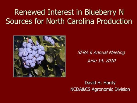 Renewed Interest in Blueberry N Sources for North Carolina Production David H. Hardy NCDA&CS Agronomic Division SERA 6 Annual Meeting June 14, 2010.