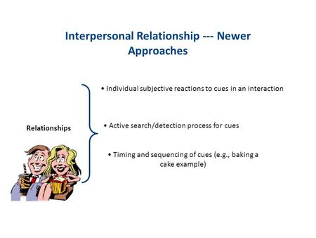 Interpersonal Relationship --- Newer Approaches Relationships Individual subjective reactions to cues in an interaction Active search/detection process.