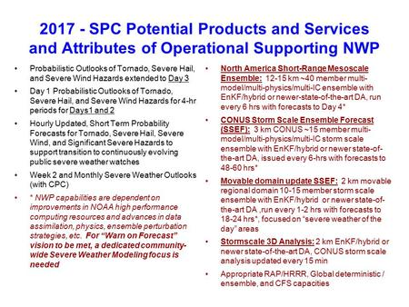 2017 - SPC Potential Products and Services and Attributes of Operational Supporting NWP Probabilistic Outlooks of Tornado, Severe Hail, and Severe Wind.