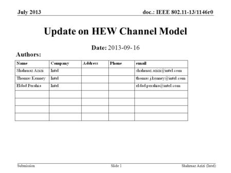 Doc.: IEEE 802.11-13/1146r0 Submission Update on HEW Channel Model Slide 1 Date: 2013-09- 16 Authors: July 2013 Shahrnaz Azizi (Intel)