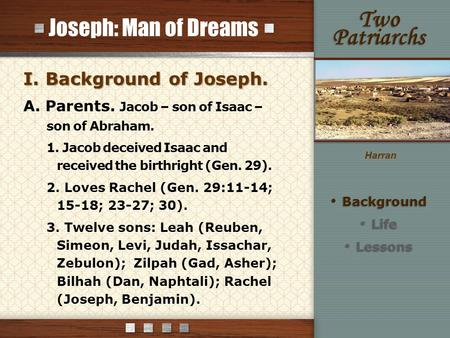 Joseph: Man of Dreams I. Background of Joseph. A. Parents. Jacob – son of Isaac – son of Abraham. 1. Jacob deceived Isaac and received the birthright (Gen.