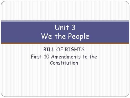 Unit 3 We the People BILL OF RIGHTS First 10 Amendments to the Constitution.