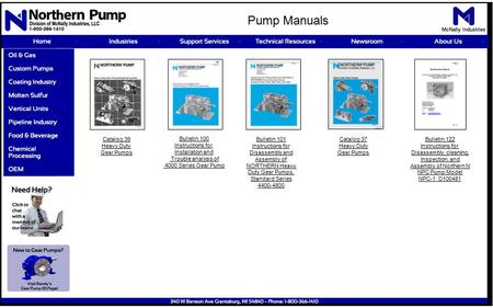Catalog 39 Heavy Duty Gear Pumps Bulletin 100 Instructions for Installation and Trouble analysis of 4000 Series Gear Pump Bulletin 101 Instructions for.