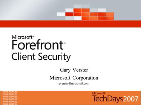 Gary Verster Microsoft Corporation