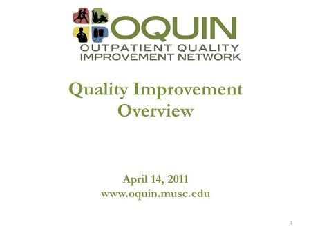 Quality Improvement Overview April 14, 2011 www.oquin.musc.edu 1.