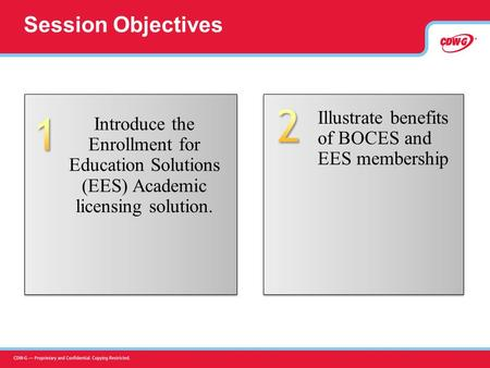 Session Objectives Illustrate benefits of BOCES and EES membership Introduce the Enrollment for Education Solutions (EES) Academic licensing solution.