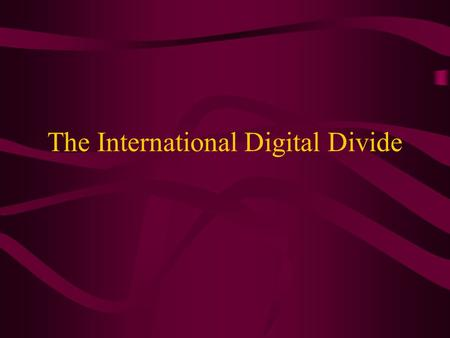 The Digital Divide is Real