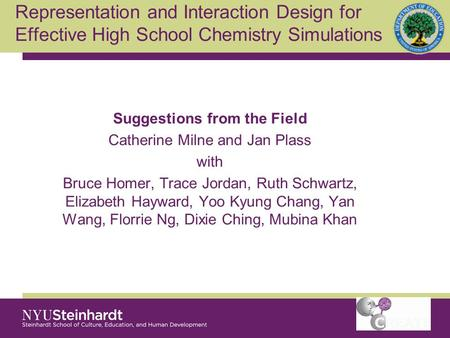 Suggestions from the Field Catherine Milne and Jan Plass with Bruce Homer, Trace Jordan, Ruth Schwartz, Elizabeth Hayward, Yoo Kyung Chang, Yan Wang, Florrie.