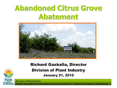 Division of Plant Industry Florida Department of Agriculture & Consumer Services – Charles H. Bronson, Commissioner Abandoned Citrus Grove Abatement Richard.