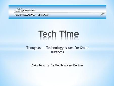 Thoughts on Technology Issues for Small Business Data Security for Mobile Access Devices.