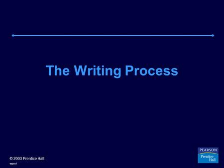 © 2003 Prentice Hall wpro1 The Writing Process. © 2003 Prentice Hall wpro2 WRITING AS PROCESS: AN OVERVIEW Think of writing as a process: a set of activities.