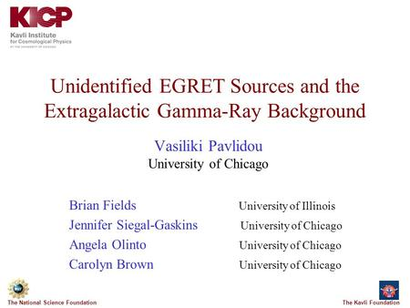 The Kavli FoundationThe National Science Foundation Unidentified EGRET Sources and the Extragalactic Gamma-Ray Background Vasiliki Pavlidou University.