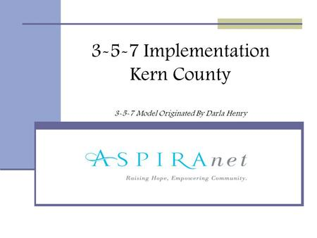 3-5-7 Implementation Kern County 3-5-7 Model Originated By Darla Henry.