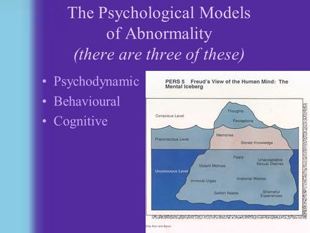 1 The Psychological Models of Abnormality (there are three of these) Psychodynamic Behavioural Cognitive.