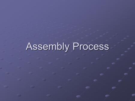 Assembly Process. Machine Code Generation Assembling a program entails translating the assembly language into binary machine code This requires more than.