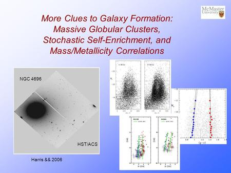 More Clues to Galaxy Formation: Massive Globular Clusters, Stochastic Self-Enrichment, and Mass/Metallicity Correlations NGC 4696 HST/ACS Harris && 2006.