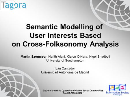TAGora: Semiotic Dynamics of Online Social Communities EU-IST-2006-034721 Semantic Modelling of User Interests Based on Cross-Folksonomy Analysis Martin.