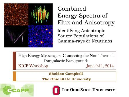 Combined Energy Spectra of Flux and Anisotropy Identifying Anisotropic Source Populations of Gamma-rays or Neutrinos Sheldon Campbell The Ohio State University.