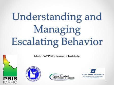 Understanding and Managing Escalating Behavior