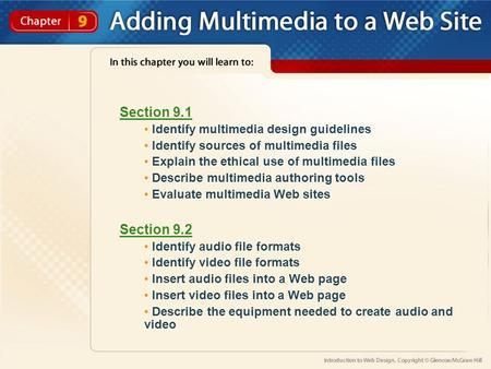 Section 9.1 Identify multimedia design guidelines Identify sources of multimedia files Explain the ethical use of multimedia files Describe multimedia.