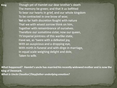 the tainted mind of hamlet The only two female characters in hamlet are gertrude  although she has tainted hamlet's view of women  however due to her state of mind.