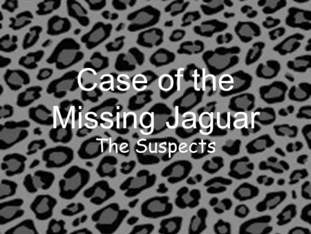 Case of the Missing Jaguar The Suspects. The Case of the Missing Jaguar This morning when I came into the building, I found that the our school mascot,