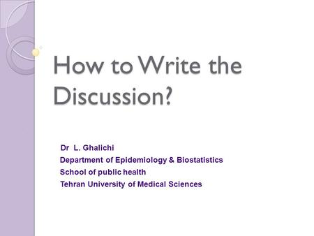 How to write a descriptive epidemiological study