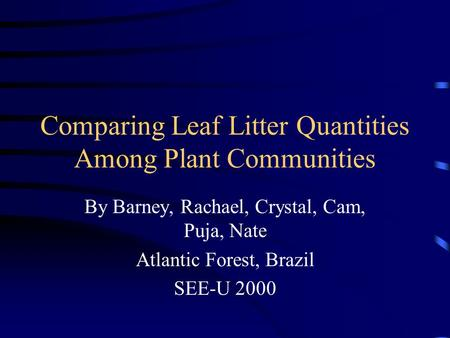 Comparing Leaf Litter Quantities Among Plant Communities By Barney, Rachael, Crystal, Cam, Puja, Nate Atlantic Forest, Brazil SEE-U 2000.
