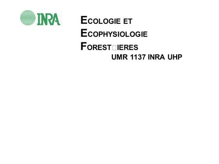 E COLOGIE ET E COPHYSIOLOGIE F ORESTIERES UMR 1137 INRA UHP.