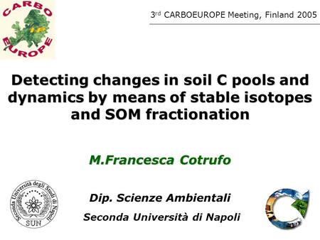 Detecting changes in soil C pools and dynamics by means of stable isotopes and SOM fractionation M.Francesca Cotrufo Dip. Scienze Ambientali Seconda Università.