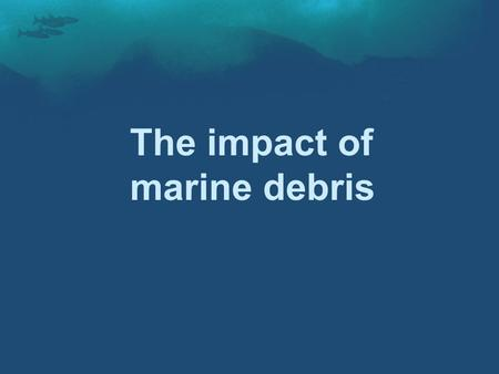 The impact of marine debris. Marine Debris -Courtesy to Conservation Science Institute; Altered Ocean; Blue Planet Society.