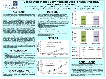 Can Changes In Daily Body Weight Be Used For Early Pregnancy Detection In C57BL/6 Mice? Nicole Libal, BS, RLAT; Ling Zhang, MD; Sarah L. Mader, BS; Stephanie.