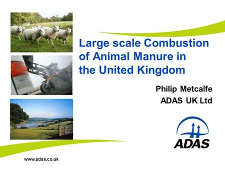 Www.adas.co.uk Large scale Combustion of Animal Manure in the United Kingdom Philip Metcalfe ADAS UK Ltd.