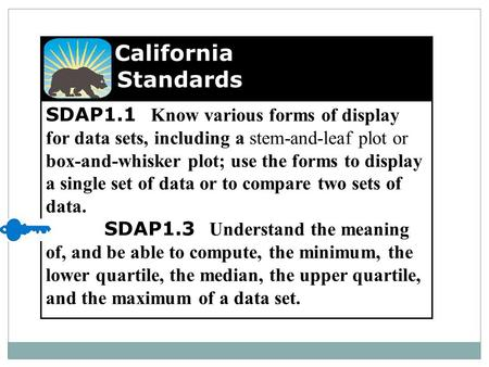 SDAP1.1 Know various forms of display for data sets, including a stem-and-leaf plot or box-and-whisker plot; use the forms to display a single set of data.