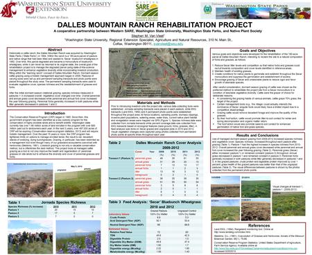 DALLES MOUNTAIN RANCH REHABILITATION PROJECT A cooperative partnership between Western SARE, Washington State University, Washington State Parks, and Native.