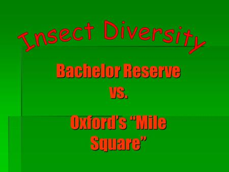 "Bachelor Reserve vs. Oxford's ""Mile Square"". Introduction  Purpose - To study insect diversity in the Bachelor Reserve and the Mile Square"" to see whether."