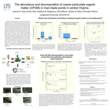 The abundance and decomposition of coarse particulate organic matter (CPOM) in man-made ponds in central Virginia. Leanna R. Tacik, Annie Choi, Andreas.