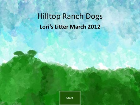 Hilltop Ranch Dogs Lori's Litter March 2012. Navigation The presentation will run automatically or you can go directly to the page you want to see by.