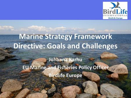 Marine Strategy Framework Directive: Goals and Challenges Johanna Karhu EU Marine and Fisheries Policy Officer Birdlife Europe.