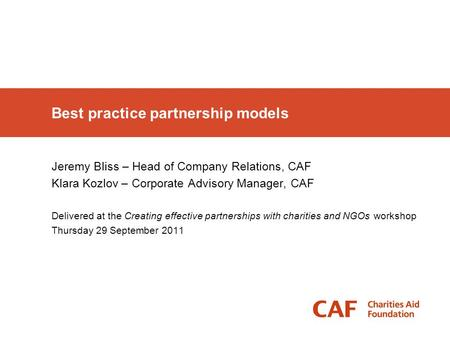 Best practice partnership models