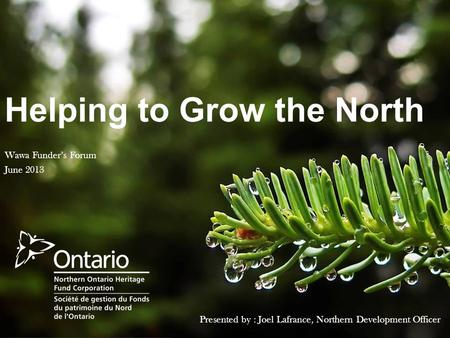 Helping to Grow the North Presented by : Joel Lafrance, Northern Development Officer Wawa Funder's Forum June 2013.
