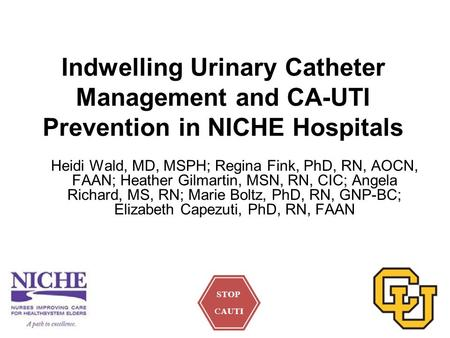 Indwelling Urinary Catheter Management and CA-UTI Prevention in NICHE Hospitals Heidi Wald, MD, MSPH; Regina Fink, PhD, RN, AOCN, FAAN; Heather Gilmartin,