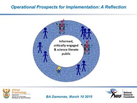 BA Damonse, March 10 2015 Operational Prospects for Implementation: A Reflection Informed, critically engaged & science literate public.