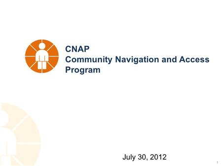 1 CNAP Community Navigation and Access Program July 30, 2012.