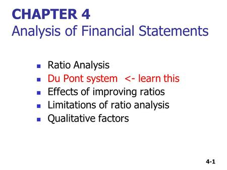 CHAPTER 4 Analysis of Financial Statements